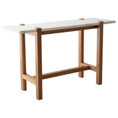 Pierce Console, Sofa Table, White Oak Hardwood, Carrara Marble Top
