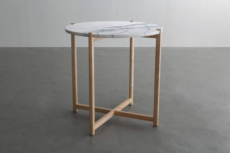Modern Pierce Side Table, Round Maple Hardwood, White Carrara Marble Top For Sale