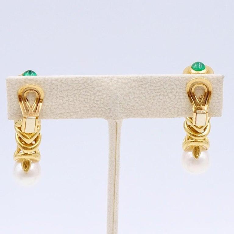 Emerald Cut Pierced and Clip On Earrings Emerald 14K Yellow Gold Pearl Earrings For Sale