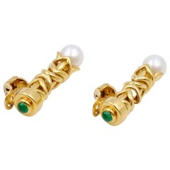 Pierced and Clip On Earrings Emerald 14K Yellow Gold Pearl Earrings