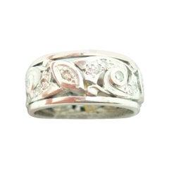 Pierced Art Deco Platinum Genuine Natural Diamond Band Ring '#J2385'