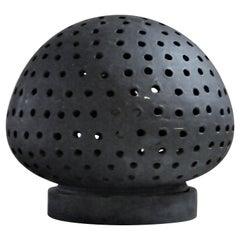 Pierced Black Ceramic Illuminating Light Sphere Lamp