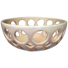 Pierced Blush Ceramic Tabletop Fruit Bowl, in Stock