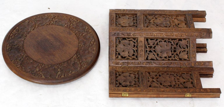 Pierced Carving Folding Round Side Occasional Table 2