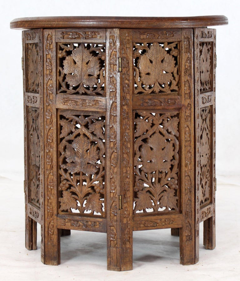 Pierced Carving Folding Round Side Occasional Table 3