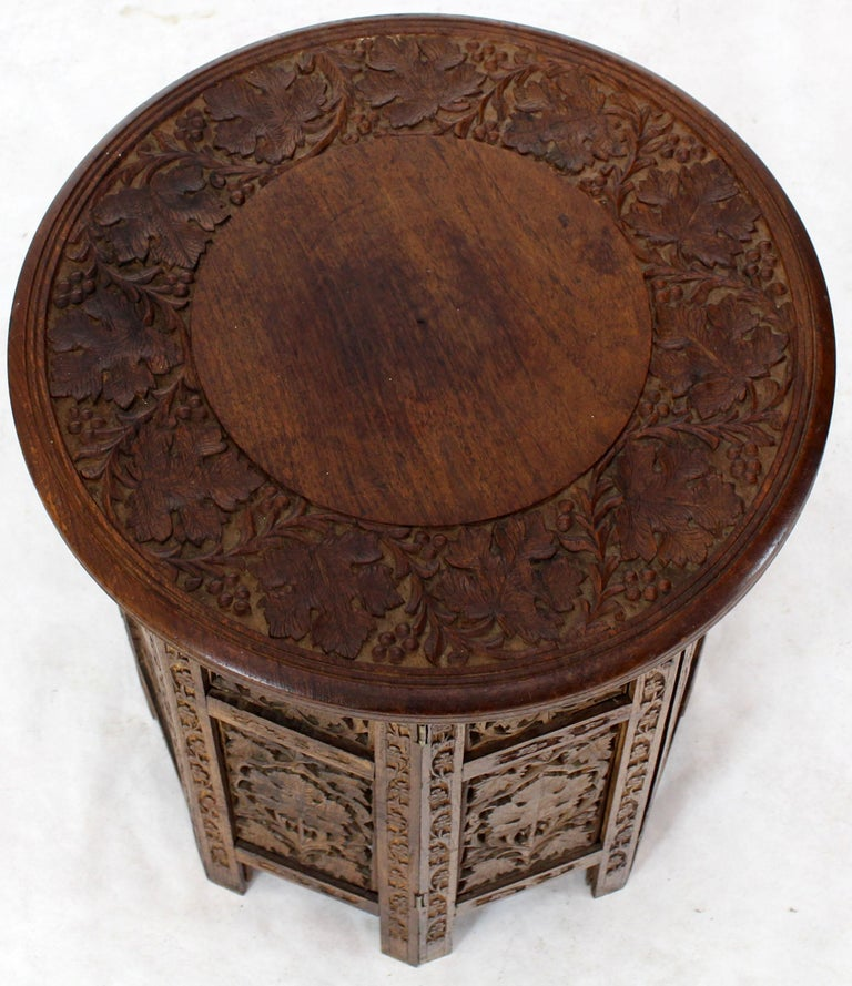 Pierced Carving Folding Round Side Occasional Table 4
