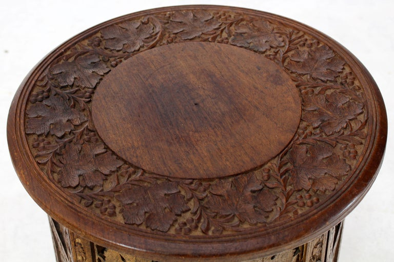 Pierced Carving Folding Round Side Occasional Table 5