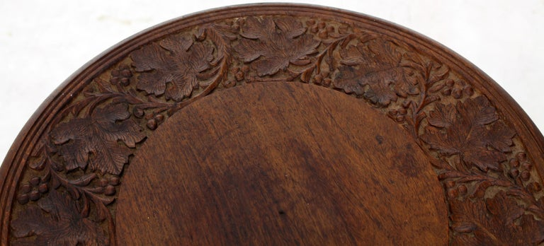 Pierced Carving Folding Round Side Occasional Table 6
