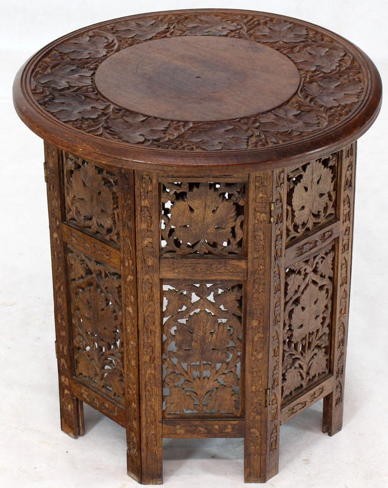 Pierced Carving Folding Round Side Occasional Table 7