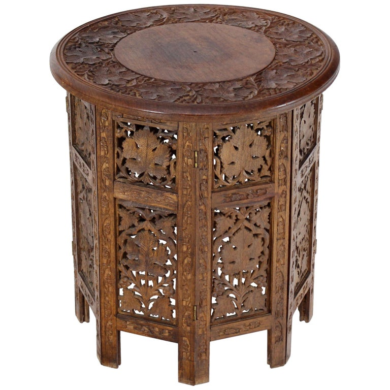 Pierced Carving Folding Round Side Occasional Table 1
