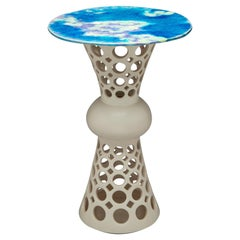 Pierced Ceramic Segmented Hour Glass Side Table, Lavender/Turquoise