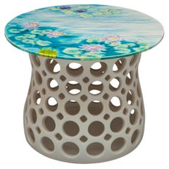 Pierced Ceramic Side Table-Turquoise Lily Pad Motif