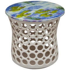 Pierced Ceramic Side Tables with Hand Glazed Impressionist Inspired Tabletops