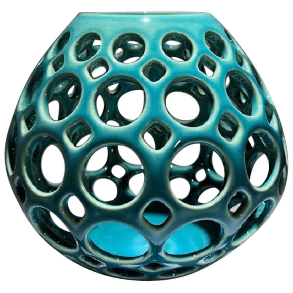 Pierced Ceramic Tabletop Sculpture/Candleholder, Turquiose