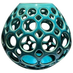 Pierced Ceramic Tabletop Sculpture/Candleholder, Turquiose