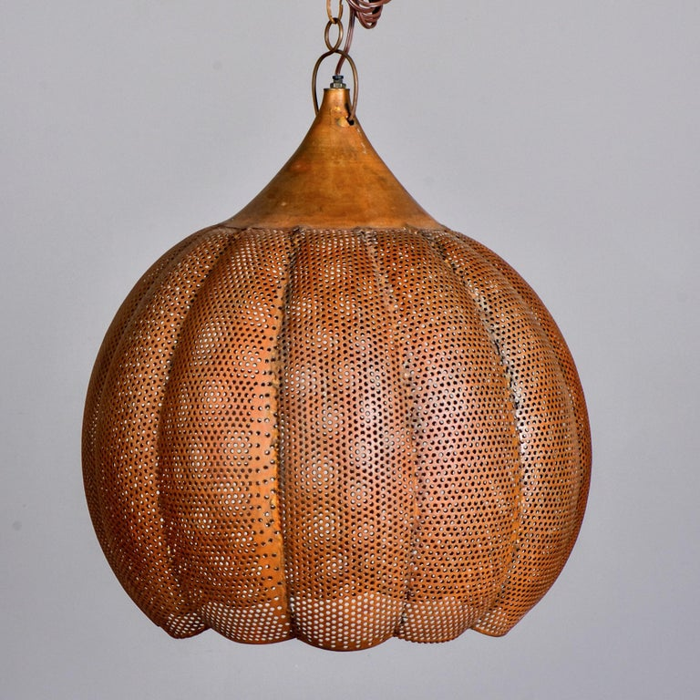 Mid-Century Modern Pierced Copper Pendant Fixture For Sale
