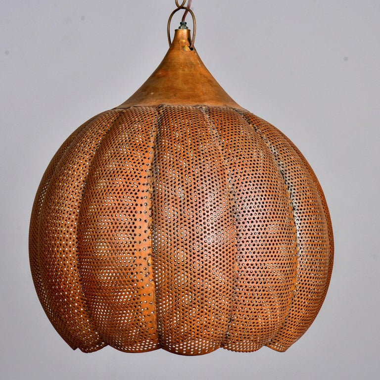 European Pierced Copper Pendant Fixture For Sale