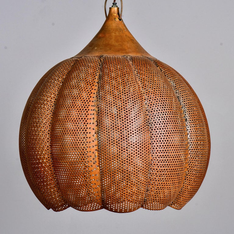 Pierced Copper Pendant Fixture In Good Condition For Sale In Troy, MI