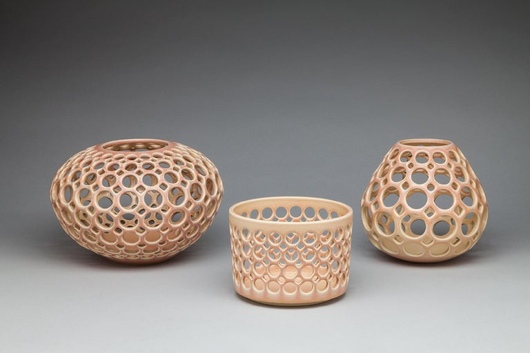 Mid-Century Modern Pierced Cylindrical Bowl, Blush, In Stock For Sale