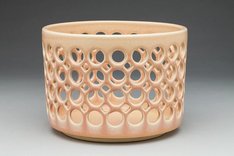 Pierced Cylindrical Bowl, Blush, In Stock In New Condition For Sale In Oakland, CA