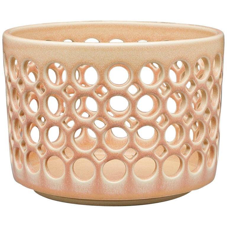 Pierced Cylindrical Bowl, Blush, In Stock For Sale