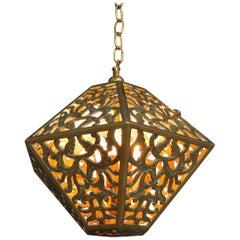 Pierced Filigree Brass Japanese Asian Ceiling Pendant Light