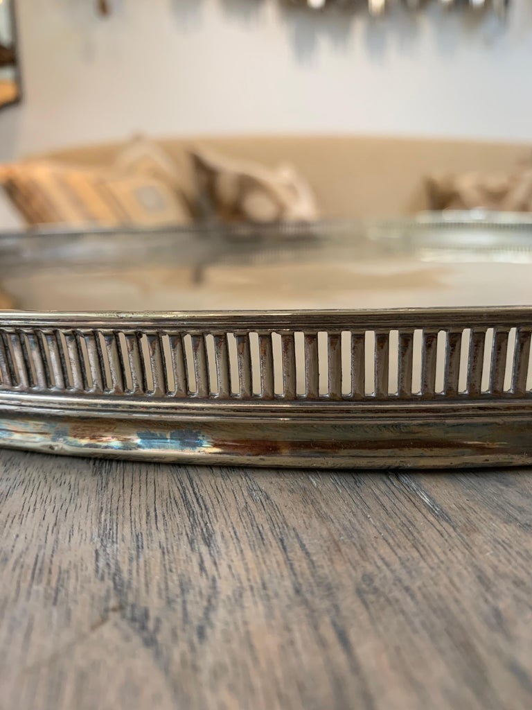 Regency Pierced Gallery Edge Silver Tray  For Sale