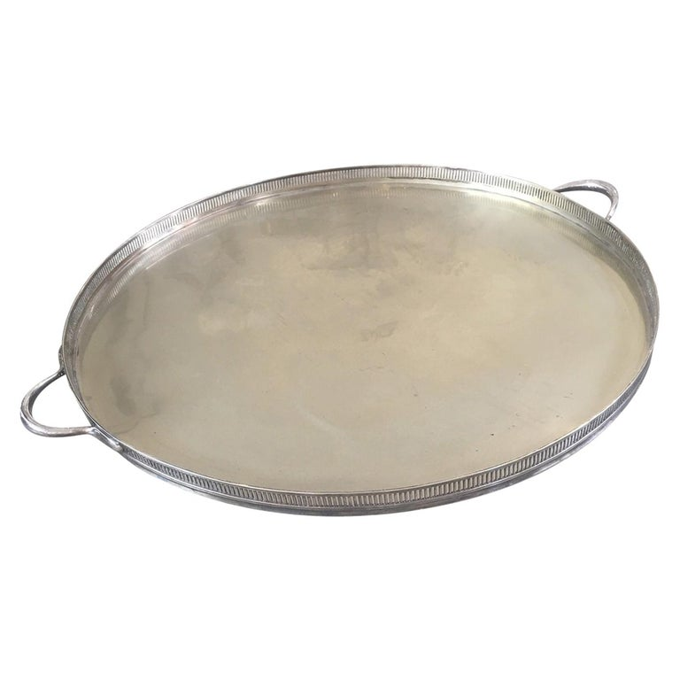 Pierced Gallery Edge Silver Tray  For Sale