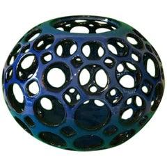 Pierced Round Tabletop Sculpture Midnight Blue