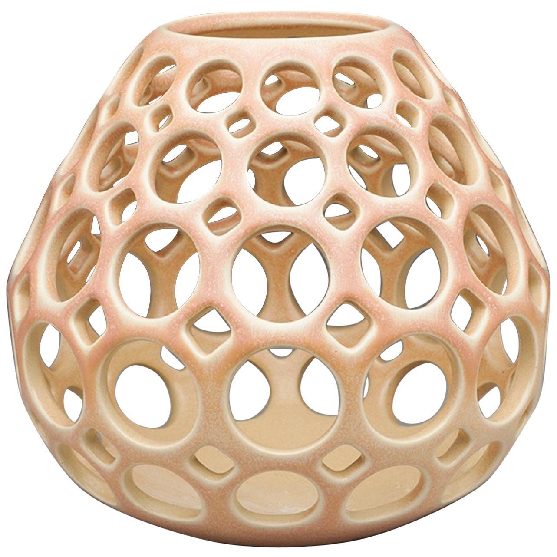 Pierced Tabletop Candleholder/Sculpture, Blush, In Stock