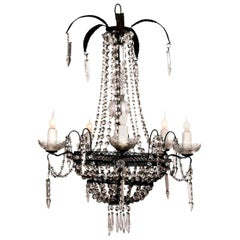 Pierced Tole Italian Chandelier Decorated in Crystal
