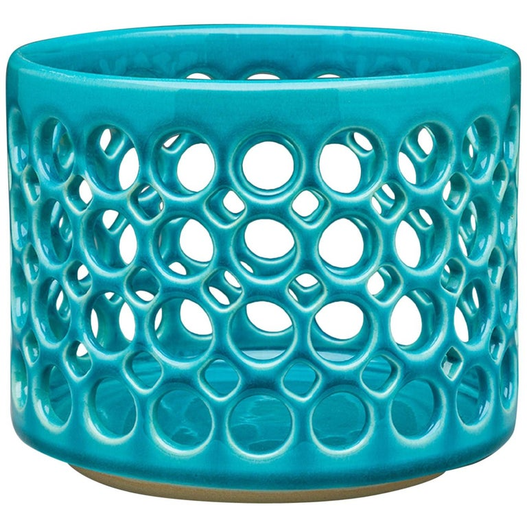 Pierced Turquoise Cylindrical Bowl, in Stock For Sale