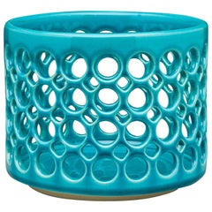 Pierced Turquoise Cylindrical Bowl, in Stock