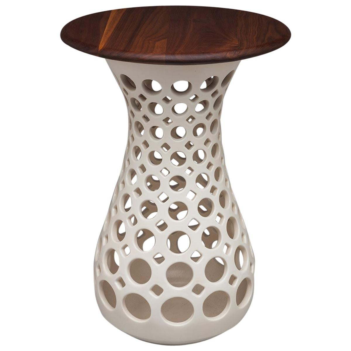 Pierced White ceramic Side Table with Walnut Top, In Stock