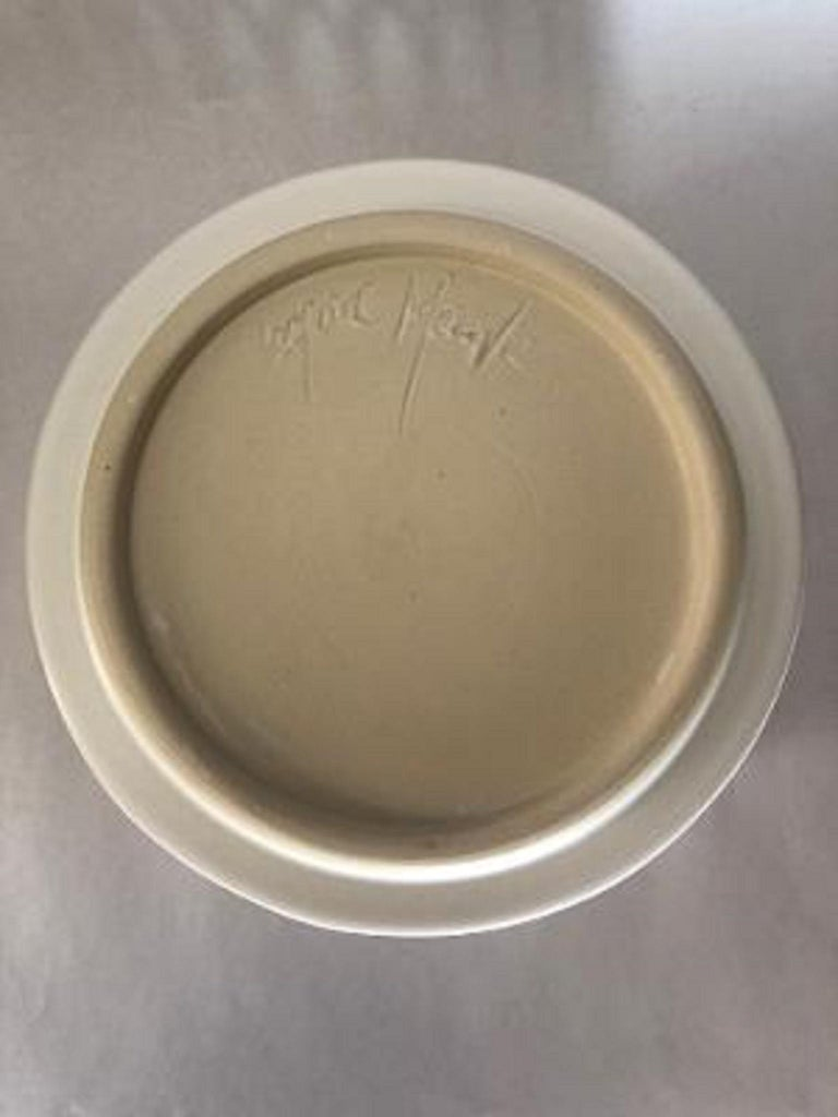 Mid-Century Modern Pierced White Cylindrical Bowl, in Stock For Sale