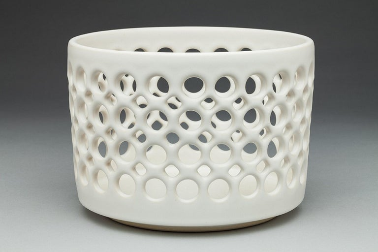 Fired Pierced White Cylindrical Bowl, in Stock For Sale