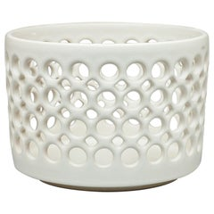 Pierced White Cylindrical Bowl, in Stock