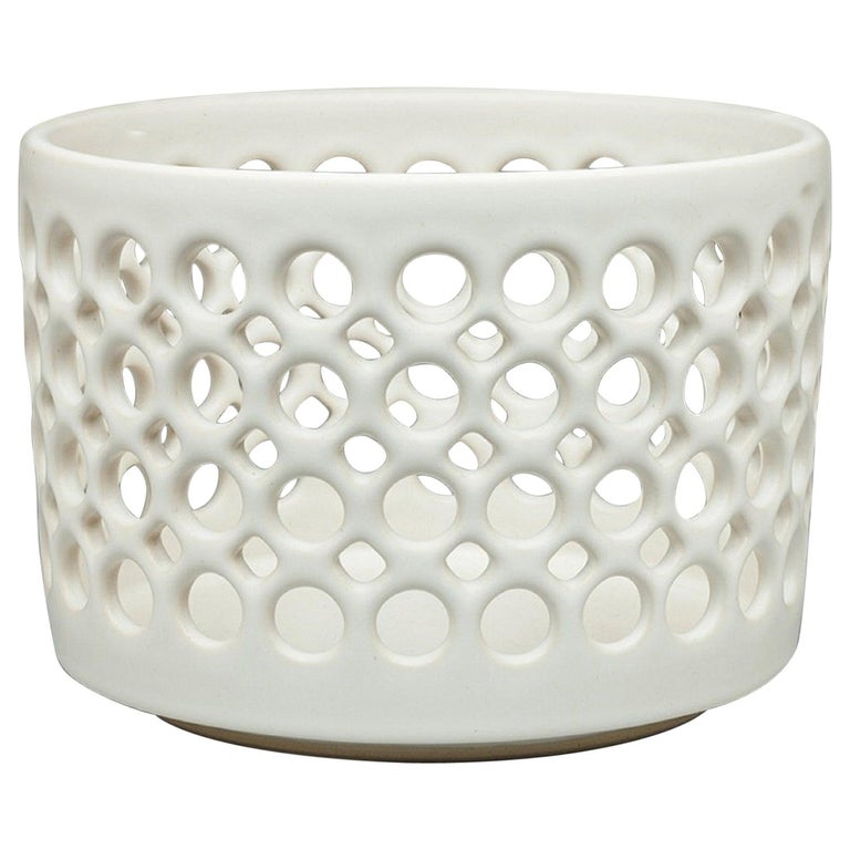 Pierced White Cylindrical Bowl, in Stock For Sale
