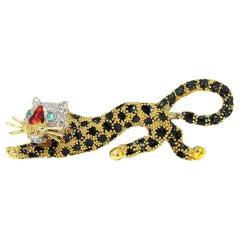 Pierino Frascarolo 18kt Gold and Enamel Leopard Brooch