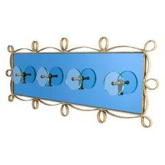 Pierluigi Colli Coatrack Blue Glass Mirror Iron, Italy, 1955