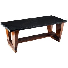 Pierluigi Colli Table with Verde Alpi Marble Top and Wooden Structure circa 1940