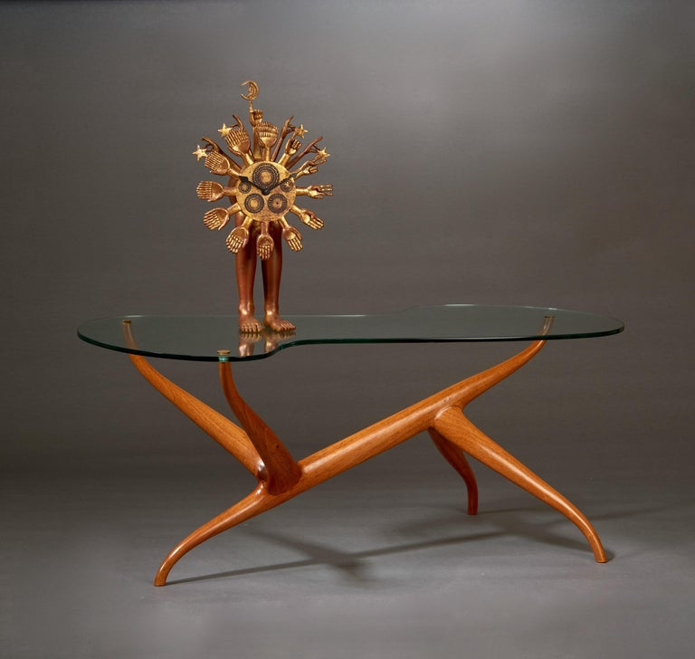 Pierluigi Giordani Exceptional Sculptural Oak & Glass Coffee Table, Italy, 1950s For Sale 5