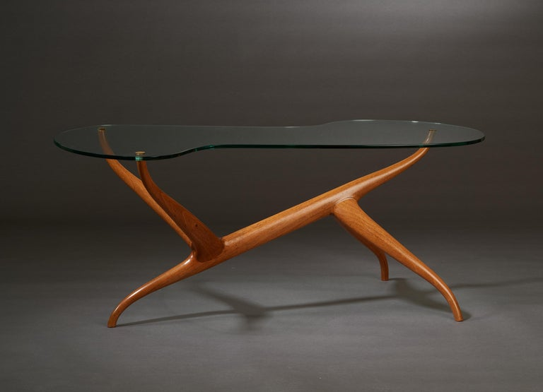 Mid-Century Modern Pierluigi Giordani Exceptional Sculptural Oak & Glass Coffee Table, Italy, 1950s For Sale