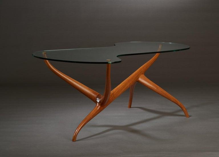 Italian Pierluigi Giordani Exceptional Sculptural Oak & Glass Coffee Table, Italy, 1950s For Sale