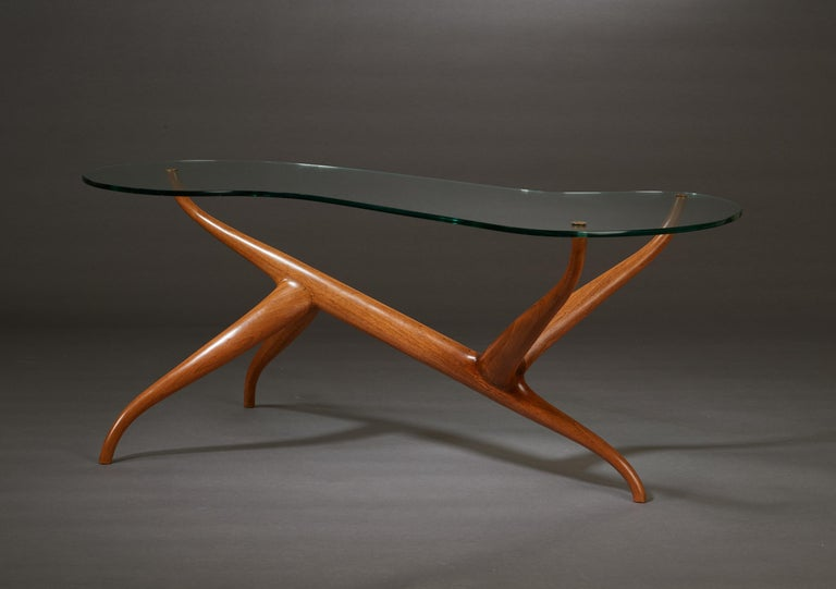 Mid-20th Century Pierluigi Giordani Exceptional Sculptural Oak & Glass Coffee Table, Italy, 1950s For Sale
