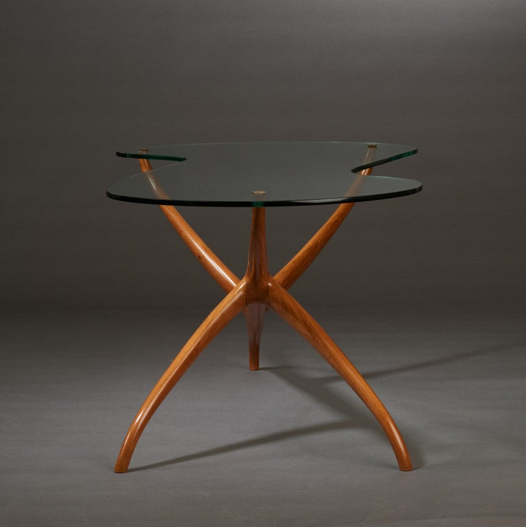 Pierluigi Giordani Exceptional Sculptural Oak & Glass Coffee Table, Italy, 1950s For Sale 1