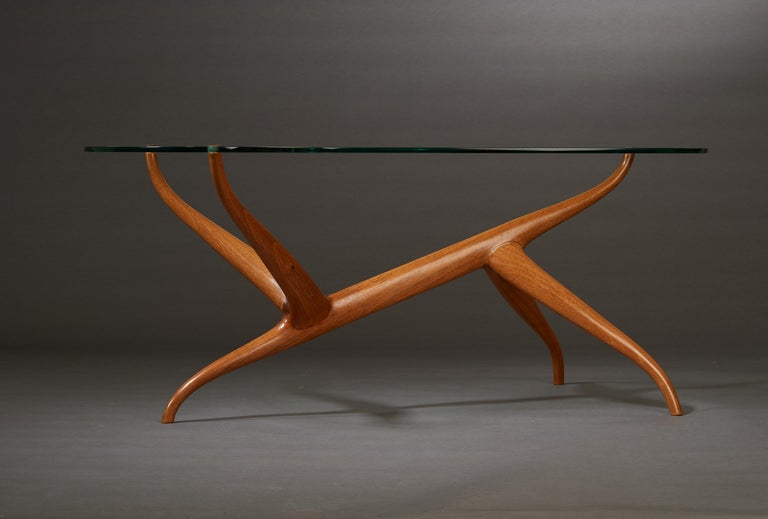 Pierluigi Giordani Exceptional Sculptural Oak & Glass Coffee Table, Italy, 1950s For Sale 2