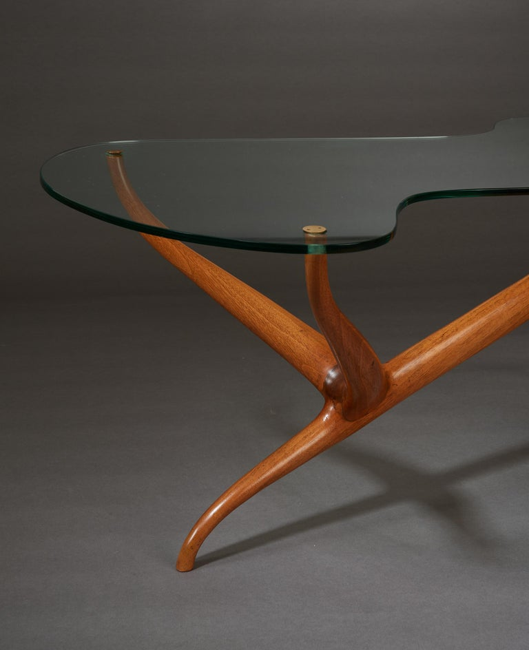Pierluigi Giordani Exceptional Sculptural Oak & Glass Coffee Table, Italy, 1950s For Sale 3