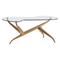 Pierluigi Giordani Exceptional Sculptural Oak & Glass Coffee Table, Italy 1950s