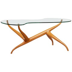 Pierluigi Giordani Exceptional Sculptural Oak & Glass Coffee Table, Italy, 1950s
